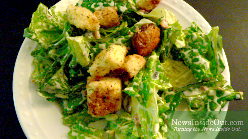 Vegan Caesar Salad and Bacun Pieces and Handmade Crouton